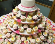 Open Rose Wedding Cake with Spring Cupcakes Closeup onsite 1200